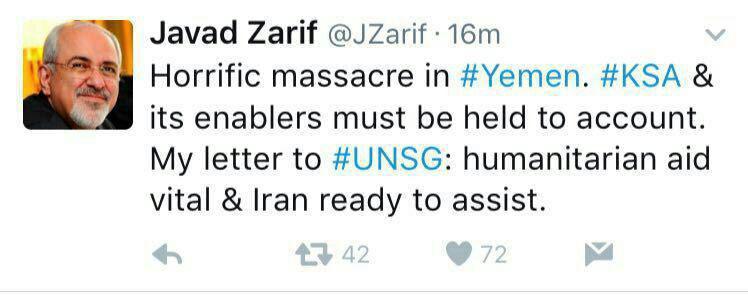 ظريف: يجب استجواب السلطات السعودية وداعميها حول كارثة صنعاء