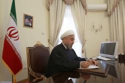 روحانی یعرب عن تعازیه بمناسبة وفاة امیر قطر السابق