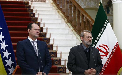 لاريجاني: وجهات نظر مشتركة بين ايران والبوسنة بشان حل المشاكل الاقليمية
