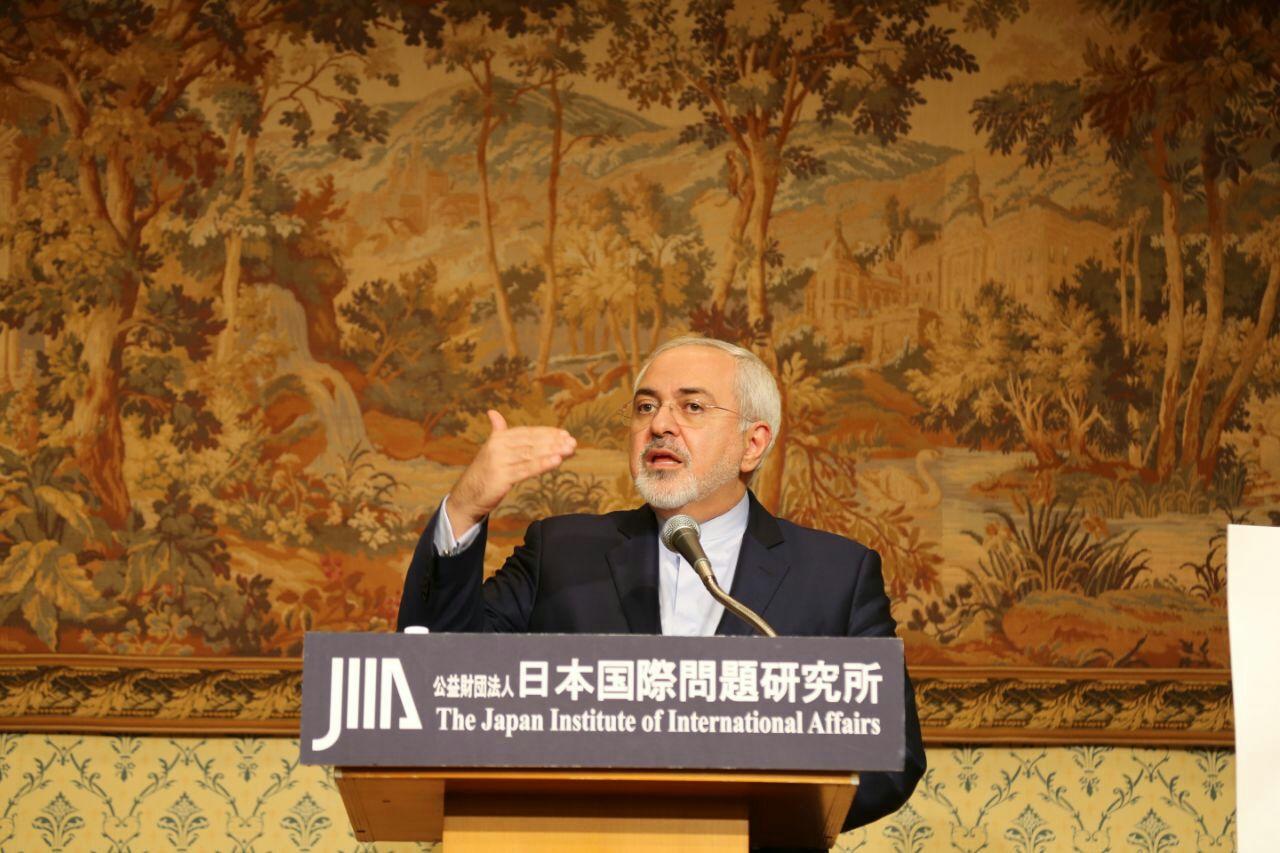 ظريف يلقي كلمة في منظمة الشئون الدولية اليابانية