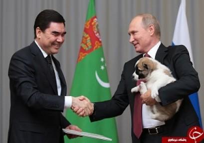 """بالصور و الفيديو: رئيس تركمانستان يهدي بوتين """"صديقا مخلصا"""""""