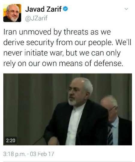 ظريف يرد علي تغريدات ترامب المتكررة: ايران لا تعير التهديدات اي اهمية