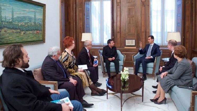 وفد برلماني أوروبي يعد الأسد بالعمل على إلغاء العقوبات ضد دمشق