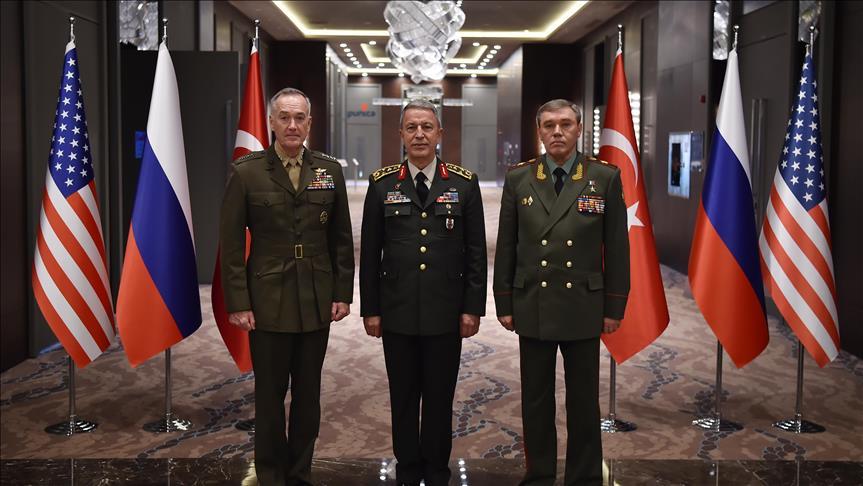 رؤساء أركان تركيا وأمريكا وروسيا يبحثون آخر تطورات الوضع في سوريا