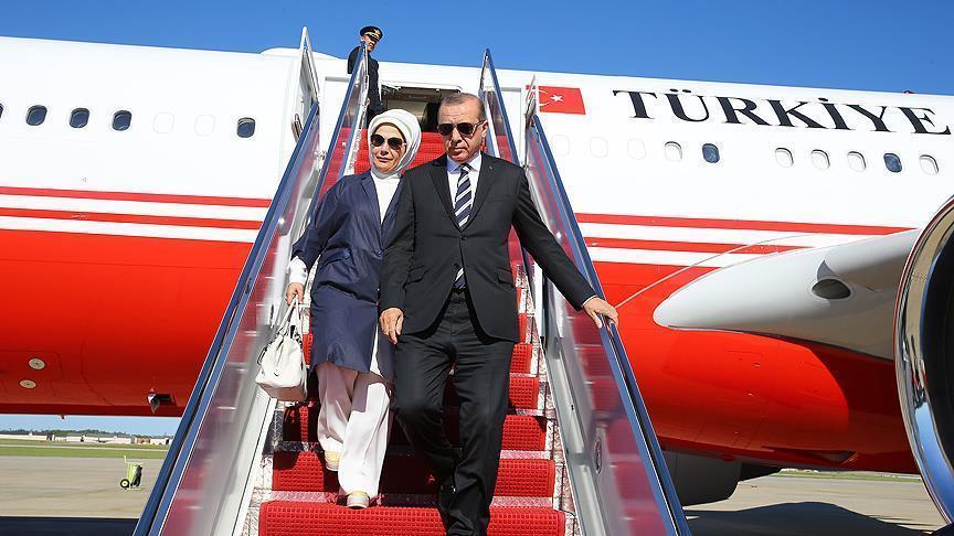 أردوغان يصل الولايات المتحدة في زيارة يلتقي خلالها ترامب