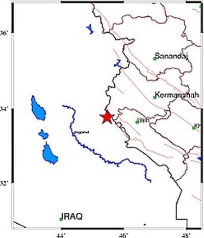 هزة ارضية تضرب غرب كرمانشاه عند الحدود مع العراق