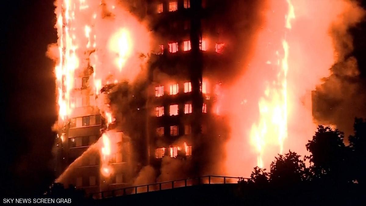 حريق هائل في برج مكون من 27 طابقا غربي لندن مباشر