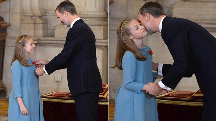 ملك إسبانيا يختار وريثته ويقلدها وشاحا ذهبيا رفيعا
