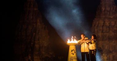 إنارة شعلة دورة الألعاب الأسيوية فى العاصمة الإندونيسية