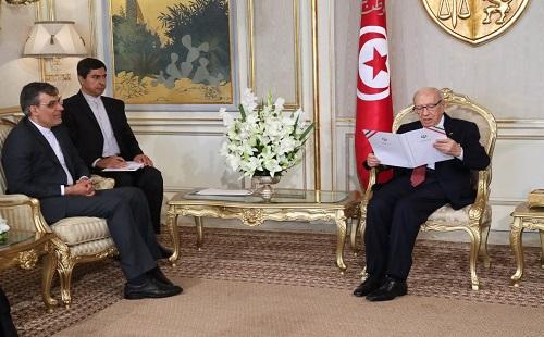 جابري انصاري يسلم رسالة خطية من روحاني لنظيره التونسي