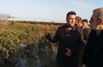 رئيس البرلمان يتفقد المناطق المنكوبة بالسيول شمال إيران