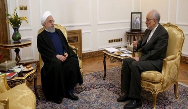 صالحي يلتقي الرئيس روحاني ويقدم له تقريرا عن اداء منظمة الطاقة الذرية