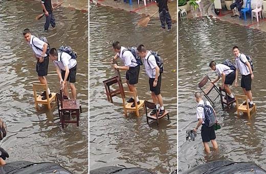 ماذا فعل طلاب مدرسة لعبور طريق مغمور بالمياه