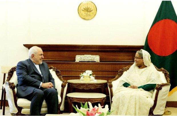 ظريف يبحث مع رئيسة وزراء بنغلاديش أوضاع مسلمي الروهينغا