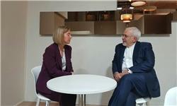 Zarif, Mogherini discuss Iran N. deal in Davos