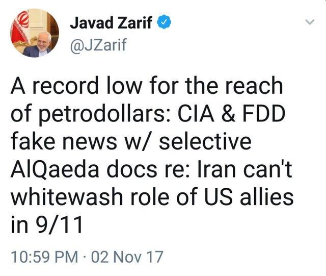 Zarif blasts US alleged documents on Iran's relation with al-Qaeda