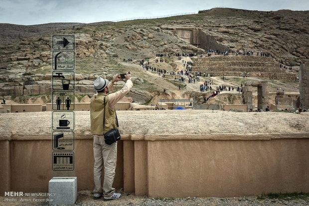 Visitors in Iran's Persepolis during Nowruz holidays