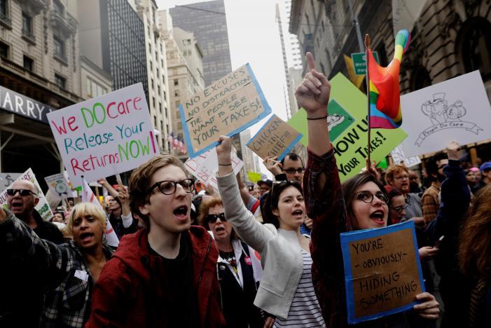 Thousands at rallies demand Trump release tax returns