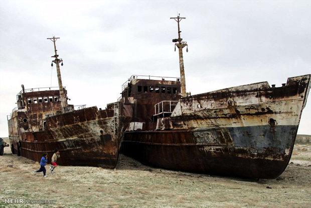 Ships graveyard inside desert