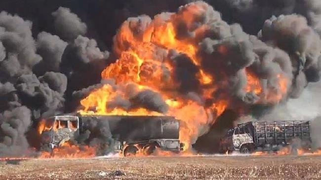 Russian airstrikes hit Daesh convoy, killing 80 terrorists fleeing Raqqah