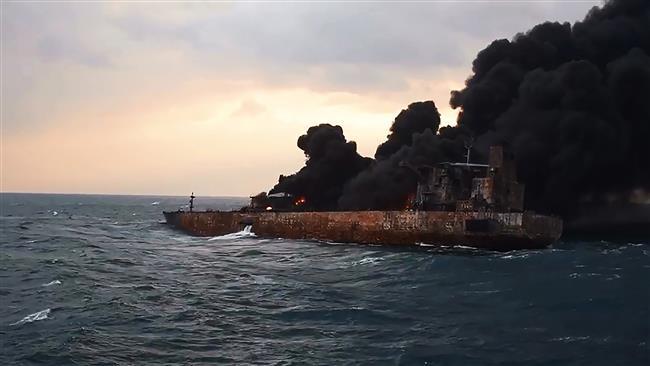 Burning Iranian tanker sinks, all crew presumed dead