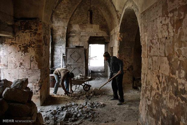 Aleppo old market after Syrian war