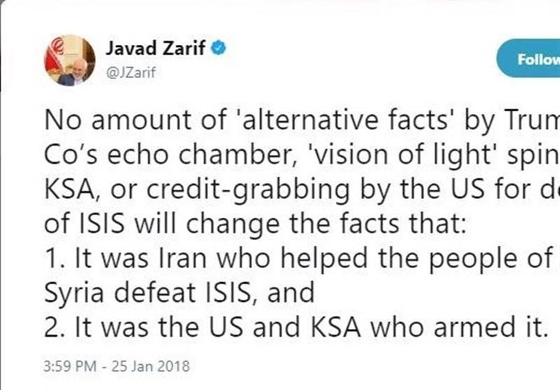Zarif stresses Iran's role in defeating Riyadh-Washington-backed Daesh