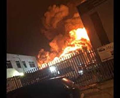 London fire crews tackle huge paint factory blaze