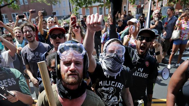 US anti-fascist protesters mark anniversary of Charlottesville violent clash