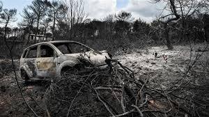 Windy weather hinders fire extinguishing work at Greek Attica Peninsula