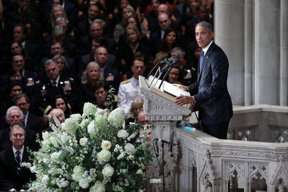 Obama, Meghan McCain rebuke absent Trump in tribute to fallen senator
