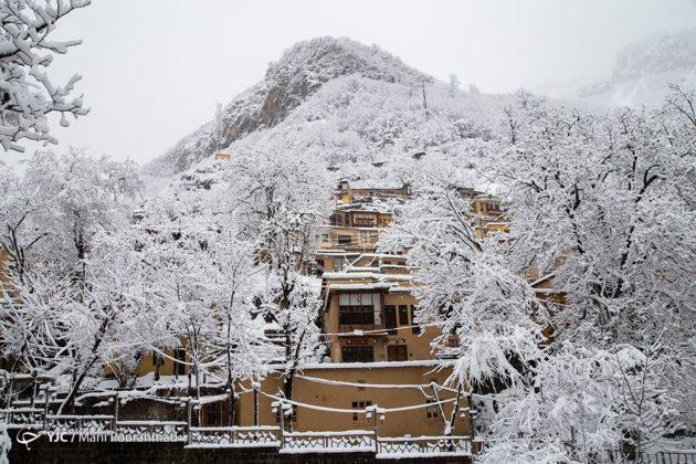 Iran's historic city of Masuleh in white winter clothing