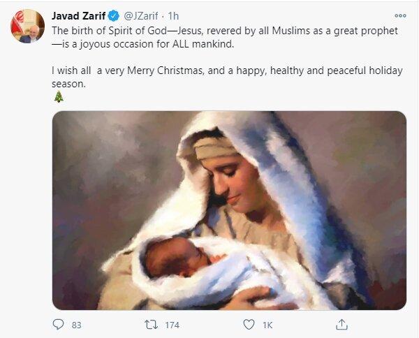 Iranian Fm felicitates Christmas to all Christians around the world