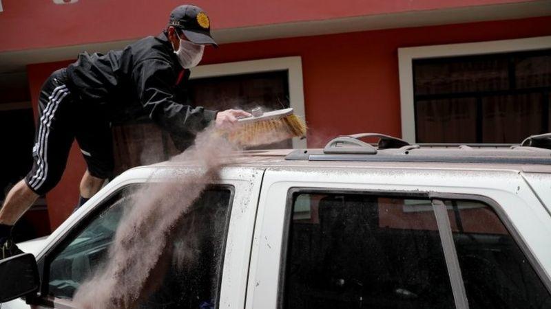 Ash covers Ecuador farming land