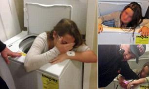 دختری که 90 دقیقه در ماشین لباسشویی شسته شد+ عکس