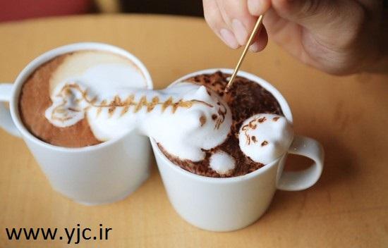 نقاشی سه بعدی روی قهوه