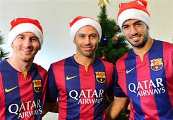 مسی و سوارز بابانوئل شدند +عکس