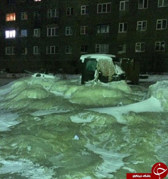 خیابانی که تبدیل به قالب یخ شد +عکس