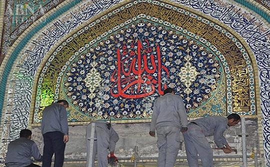 نصب کتبیه قتلگاه حرم مطهر امام حسین(ع) + تصاویر