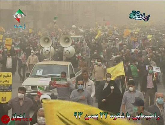 گرد و غبار مانع حضور انقل مردم غیور خوزستان در حماسه 22 بهمن نشد+ تصاویر