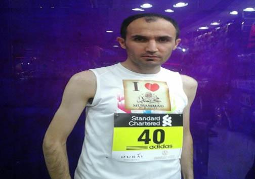 نوشته مهم یک دونده ایرانی برروی پیراهنش + عکس