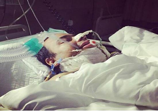 رضا داوودنژاد بعد از عمل جراحی در آی سی یو بیمارستانی در شیراز + عکس