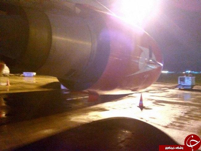 انفجار موتور ایرباس قشم ایر در استانبول + عکس / در حال کار