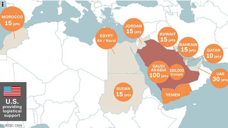 سهم کشورهای شرکت کننده در تجاوز به یمن+ نقشه