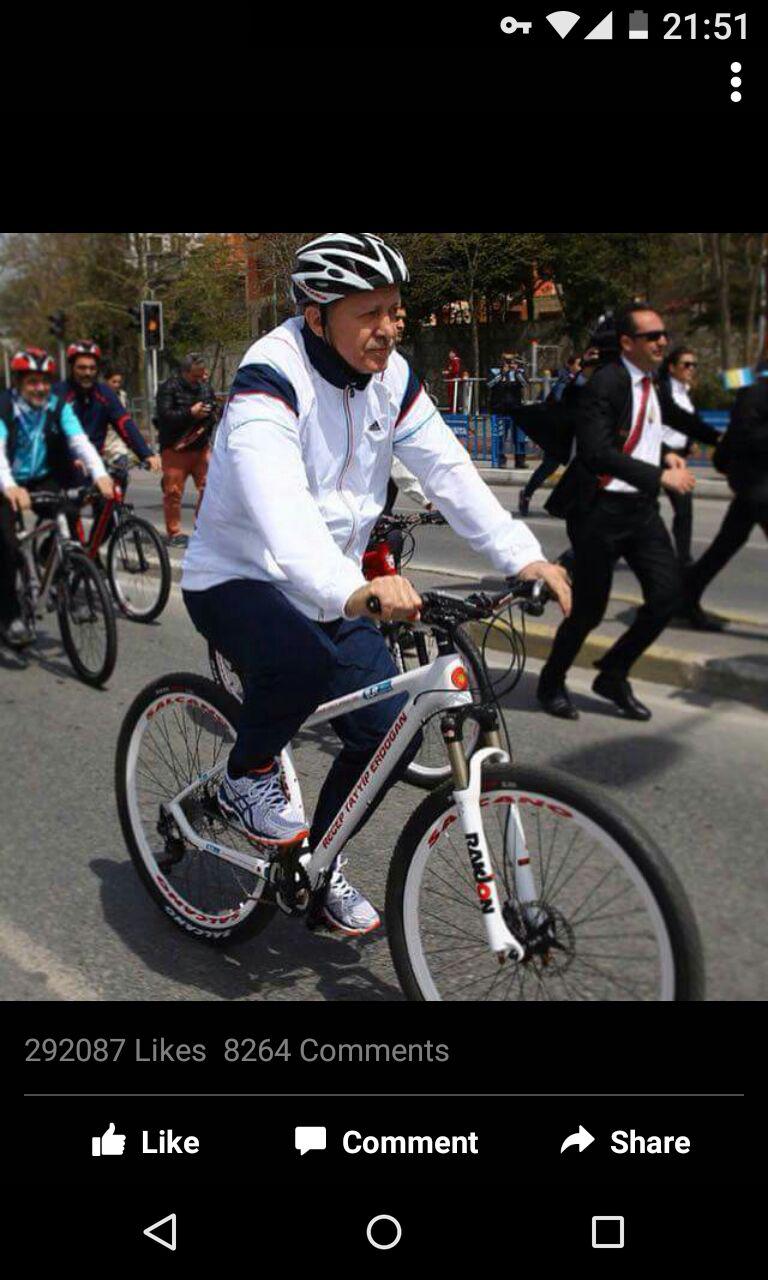 اردوغان در حال دوچرخه سواری + عکس