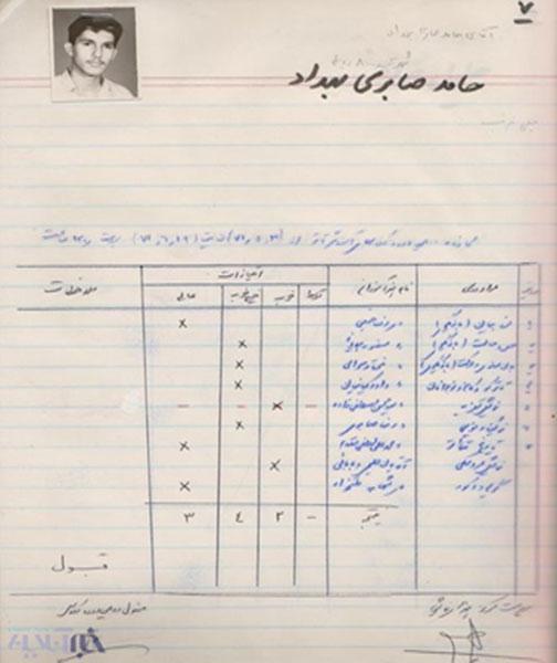 تصویر جالبی از کارنامه حامد بهداد مربوط به 23سال قبل!