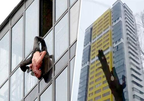نجات فردی معلق از یک ساختمان 15 طبقه + تصویر