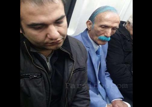 عکس/ رنگ موی عجیب یک پیرمرد