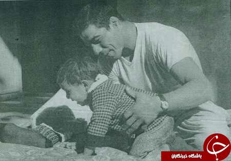 تصویری قدیمی از تختی همراه با فرزندش