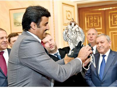 هدیه متفاوت پوتین به امیر قطر/ همای سعادت در دستان شیخ تمیم+تصاویر